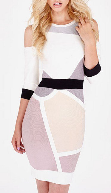 Cloverl  Nina Mid Sleeve Cut-out Bandage Dress Free Global Shipping