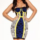 Cloverl  Avery Cobalt Blue Strapless Printed Bandage Dress Free Global Shipping