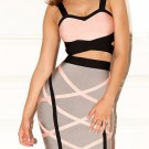 Cloverl Diera Pink and Grey Bandage dress, 2pcs in one set. Free Global Shipping