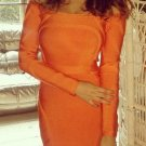 Cloverl Skye Orange Off the Shoulder Bandage Dress Free Global Shipping