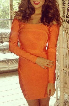 Cloverl Skye Orange Off the Shoulder Bandage Dress Free Global Shipping