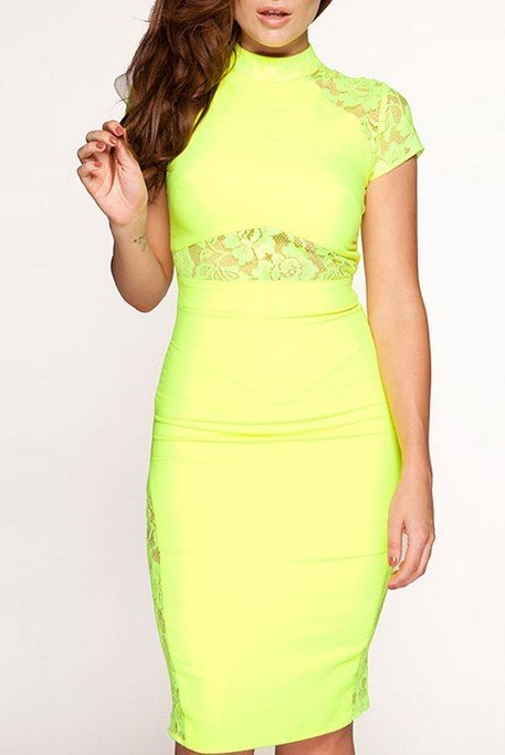 Cloverl Cassandra Neon Lime Green Pencil Bandage Dress  Free Global Shipping