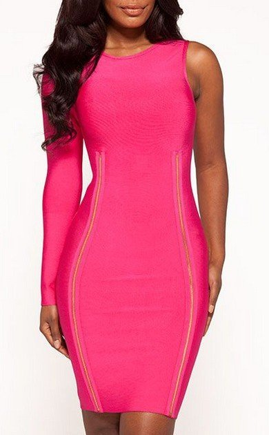 Cloverl  Hallie Fuchsia One Sleeve Bandage Dress Free Global Shipping