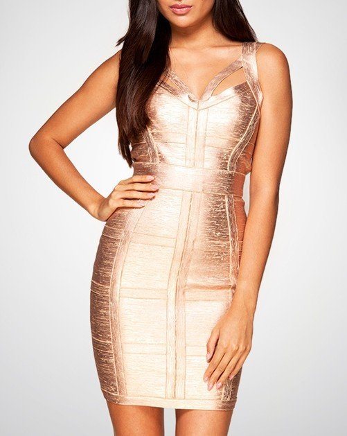 Cloverl Danielle Rose Gold Bandage Dress  Free Global Shipping