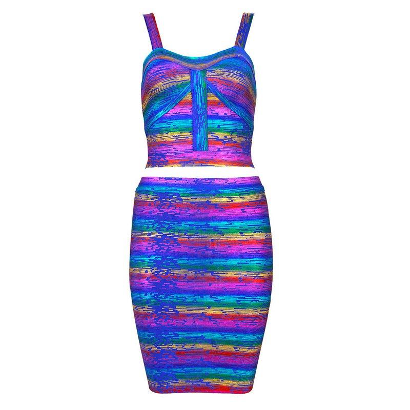 Cloverl Carmen Colorful Metallic Bandage Dress Free Global Shipping