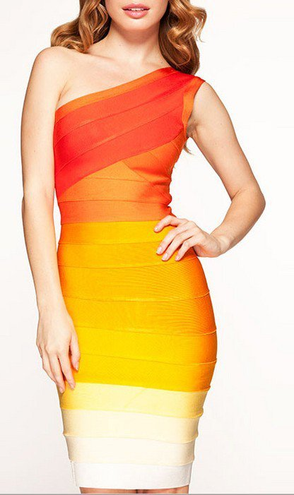 Cloverl  Caitlin Orange Ombre One Shoulder Bandage Dress Free Global Shipping