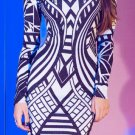 Cloverl Michelle Geometric Long-Sleeve Bandage Dress Free Global Shipping