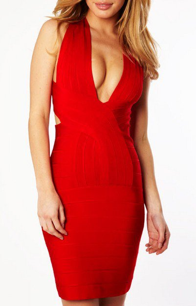 Cloverl Vanesaa Deep V Backless Bandage Dress, 2 options