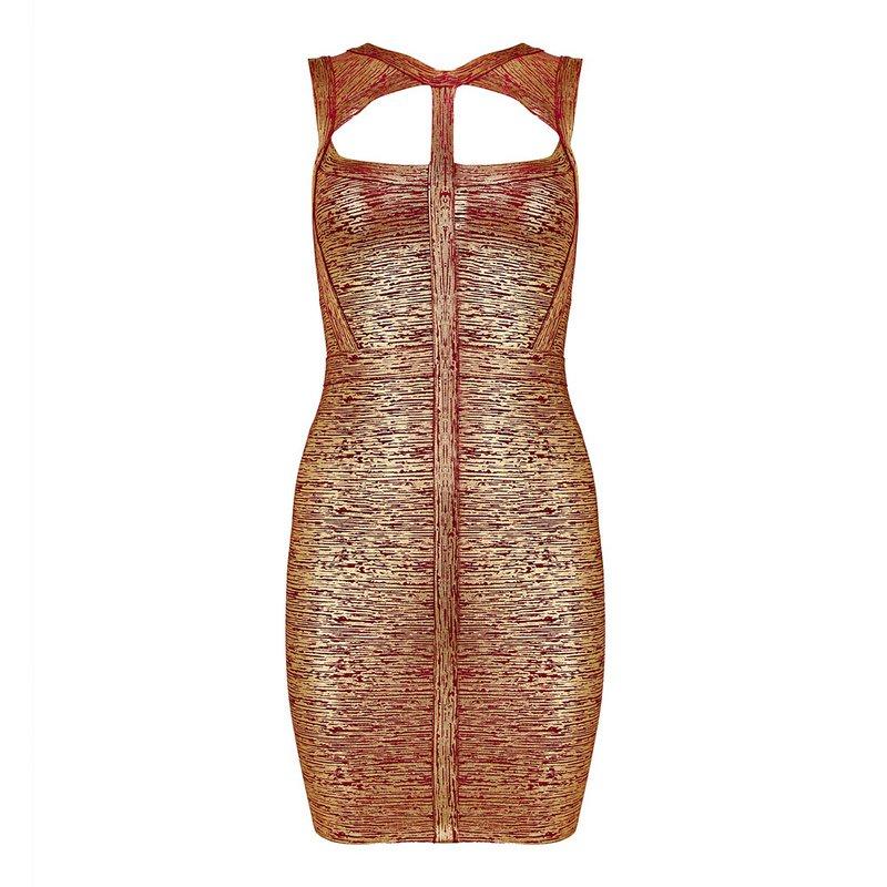 Cloverl Emmy Metallic Bandage Dress Free Global Shipping