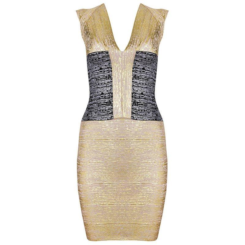 Cloverl Kathleen Metallic Bandage Dress Free Global Shipping