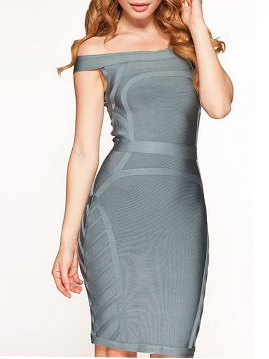 Cloverl Frankie Gray off the shoulder Bandage Dress  Free Global Shipping