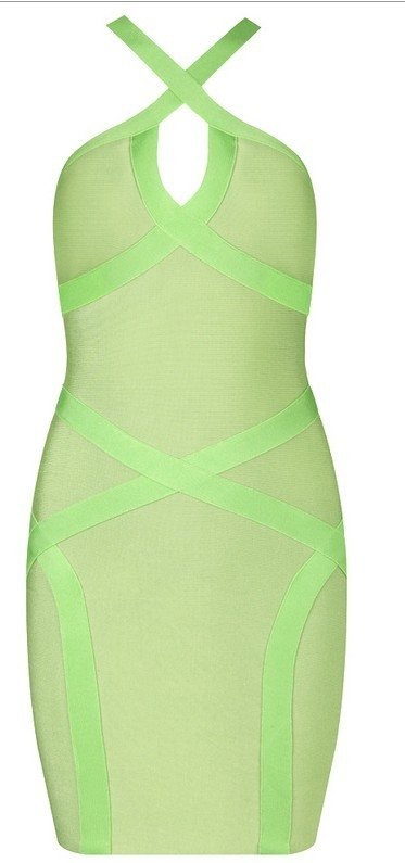 Cloverl Chloe Lime Green Low Back Bandage Dress  Free Global Shipping