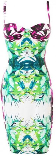 Cloverl Carmel Tropical Print Pencil Dress  Free Global Shipping