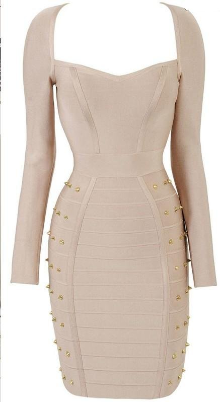 Cloverl Elisa Long Sleeve Studded Bandage Dress 2 colors in  Free Global Shipping