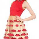 Cloverl Pout Lip Fitted Pouf Emboridery Party Dress in the style of Paris Hilton