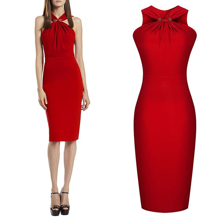 Cloverl Autumn Fall Celeb Look Red Evening Party Dress