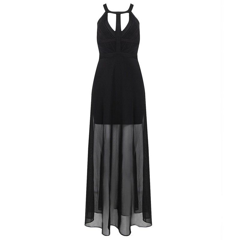 Cloverl Lyla Black Maxi Dress with Sheer Panel Free Global Shipping
