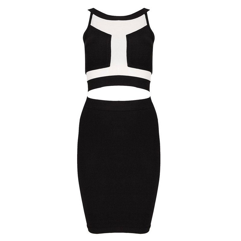 Cloverl Sydney Mesh Two Piece Bandag Dress, 2 colors in Free Global Shipping