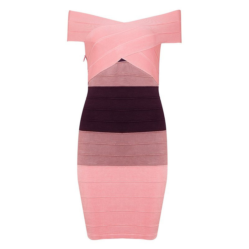 Cloverl Adara Pink Gradient Off the Shoulder Bandage Dress Free Global Shipping