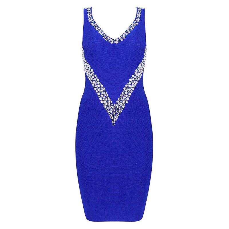 Cloverl Jess Blue Beaded Deep V Bandage Dresss Free Global Shipping
