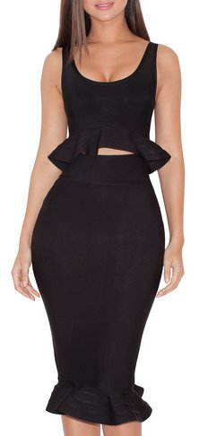 Blaise BLACK FLUTED BANDAGE TWO PIECE