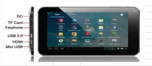 7 Inch TFT Resistive Touch Screen Android 4.0 System 1024 x 600 LCD PC 3000 mAh