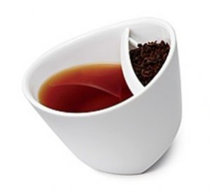 WhiteTilting Tipping Tea Cup Teacup cup tips steep tea