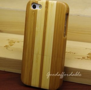 Stripe Pattern Bamboo Wooden Hard Cover Case for Apple iPhone 5