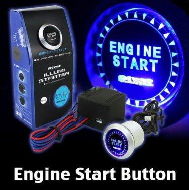 Universal 12V Kit Blue LED Car Engine Start Push Button Switch Ignition Starter