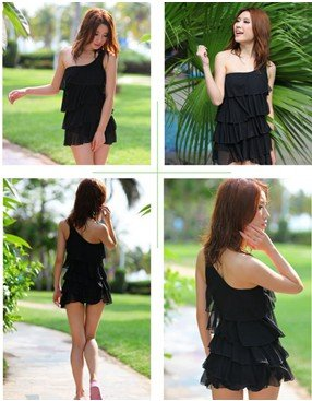 Swimsuit ONE PIECE One Shoulder BLACK Tankini with attached bottom