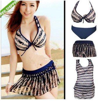 Women 4 pcs Push Up Halter Bikini Set Top Swim skirt Hollow Tank Top Smock Swimsuit Swimming Wear