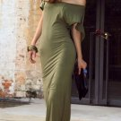 Women Lady Sexy Open Back Bodycon Stretch Slim Sexy Party Clubwear Evening Long Green Color Dress