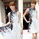 Nice Chinese Silk Retro Printing Dress High Class Elegant Lady Women Vintage Plait Dress Dresses