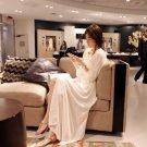 Korean Women Elegant Long Sleeve Boho Chiffon Empire Waist Beach Full Beige White color Long Dress