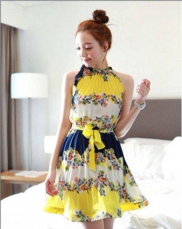 Boho Sleeveless Printed Floral Stand Collar Pleated-skirt Slim Waist Pleated Beach Dress with Belt