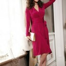 Elegant Rose Red Lady Sexy Long Sleeve Silk Club Cocktail Party Evening Wrap Dress