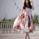 Summer strapless Asymmetric Big Hem Boho Beauty Pink Rose Floral Long Dress Skirts