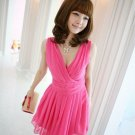 Simple Design Lovely Girl Waist Style Deep V Sleeveless Summer Pleated Causal Dress