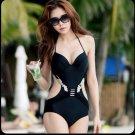 Sexy Black 1 Piece Metallic Look Slim Side Cut Underwired Push Up Monokini Swimsuit Swim Suit