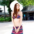 Women Colorful Strips Underwired Bikinis Top Bohemian Swimsuits Pants Beach Bathing Suits