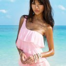 Swimsuit Sun Shine Wear one piece Blue Pink White Tankini with attached bottom