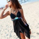 Lady Cross Front Black Bohemian Tankini Bikini Set Pad underwire Swimsuit Swimdress