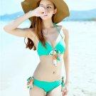 Green or Blue Halter Bikini Top Hipkini Bottom Smocked Beach Romper Cover SwimSuit