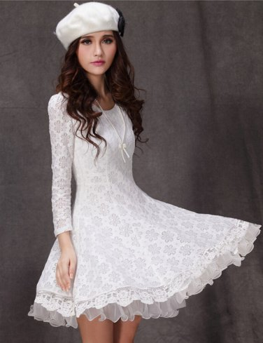Women Elegant Lace Flower Floral Pattern Waisted long Sleeve Double Hem Dress