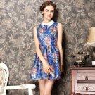 Summer Women lapel elegant Slim Fashion pattern collar floral princess dress
