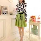 Trendy Women Floral Waist Chiffon Short Sleeve Frill Tunic Green Mini Dress