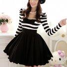 Women fashion Black White Striped Bowknot round collar Puff Long Sleeve Dress