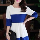 Summer spring Women Minimalist hit color elegant 3/4 sleeve Office Lady OL Fashion dress