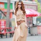 Attractive Women Vintage Boho Sleeveless Chiffon Polka Dots Party Long Maxi Beach Dress
