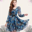 Elegant Retro Women Slim V Neck Blue Floral Long Sleeve Office Lady OL Chiffon Dress